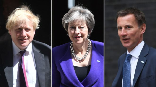 Boris Johnson, Theresa May and the new foreign secretary Jeremy Hunt
