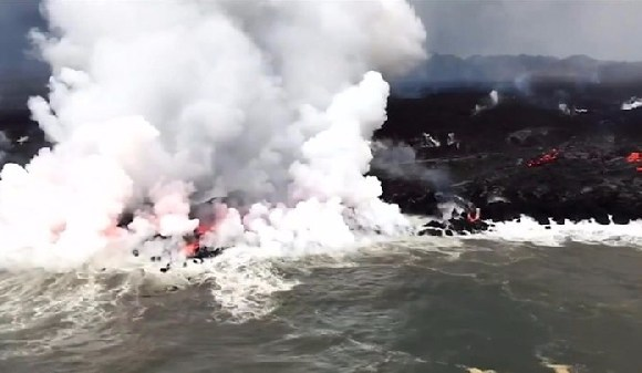 Flying lava has struck a tour boat in Hawaii