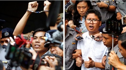 Kyaw Soe Oo (left) and Wa Lone say they were framed by the police