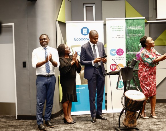 Ms Esther Cobbah, CEO Stratcomm Africa together with officials of ECOBANK Ghana launching the 2018 GGFS