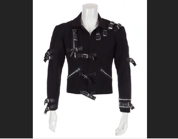 A black synthetic-blend jacket Michael Jackson wore on his 1989 Bad World Tour