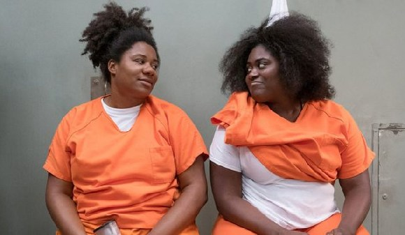 Adrienne C. Moore and Danielle Brooks as characters Cindy Hayes and Tasha