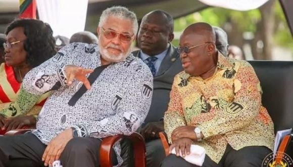 Former President Jerry John Rawlings with President Akufo-Addo.