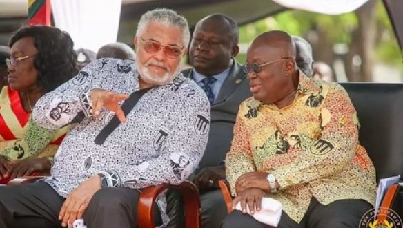 Former President Jerry John Rawlings with President Akufo-Addo.,,,,, Ghana Political News Report Articles