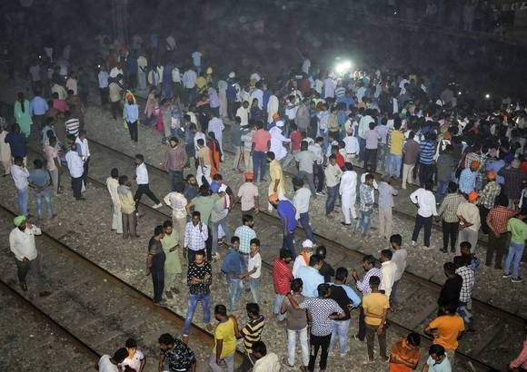 India train mows down crowd killing scores