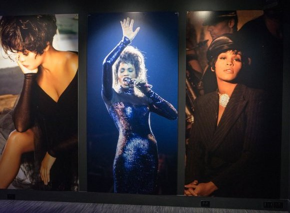 "Portraits of Whitney Houston, on view at the ""Whitney!"" show at the Grammy Museum in Newark"