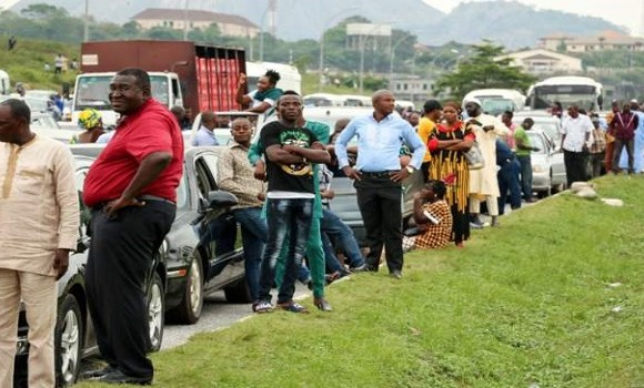 Roads were blocked in Abuja on Monday as the clashes took place