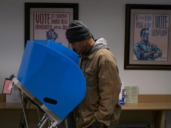 An early voter casts his vote in Athens, Georgia, U.S., October 26, 2018