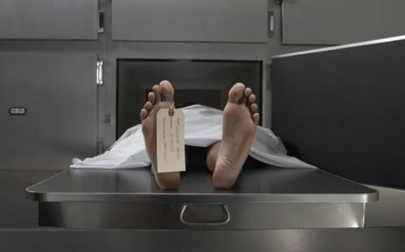 Corpse at morgue