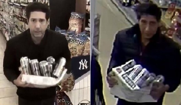David Schwimmer (left) posted a video response to the widely shared image of a theft suspect (right)