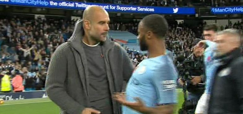 Guardiola and Sterling arguing
