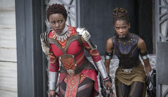 Lupita Nyong'o [L] starred alongside Letitia Wright in Black Panther