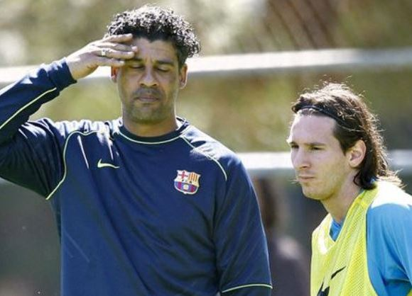 Messi with former Barcelona coach