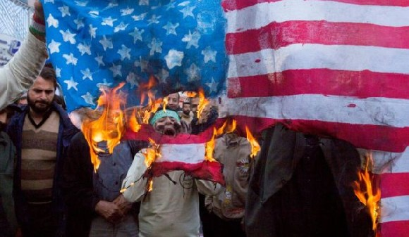Protesters demonstrated outside the former US embassy in Tehran on Sunday