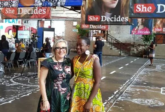 Robin Gorna, co-lead of SheDecides, and SheDecides champion Tikhala Itaye, at the SheDecides Flagship Event in Pretoria South Africa.,,,,......