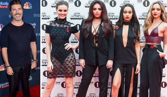 Simon Cowell and music group Little Mix