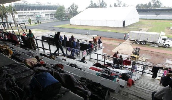 The sports stadium is being prepared for thousands of migrants