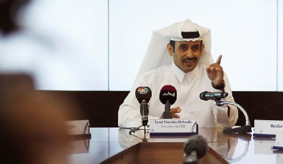 Saad al-Kaabi, chief executive of Qatar Petroleum, gestures during a news conference