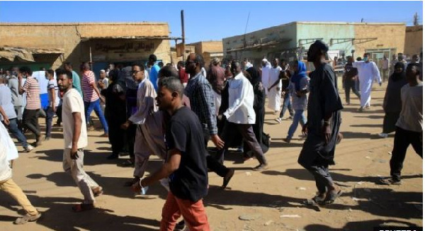 Protesters marched in Khartoum after prayers on Friday