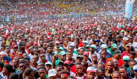 Tens of thousands of people attended the rally at Port Harcourt's stadium