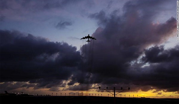 A B-52 Stratofortress takes off from Andersen Air Force Base, Guam, March 18, 2019