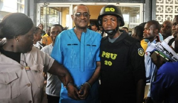 Charles Sirleaf (centre) will be held in prison pending his trial
