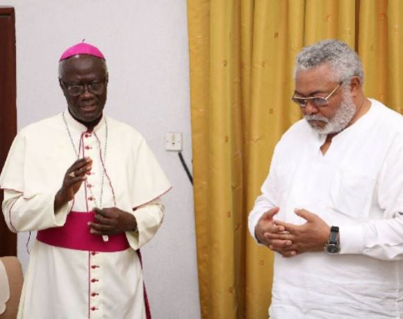 Most Rev. Bonaventure Kwofie and Former President Rawlings