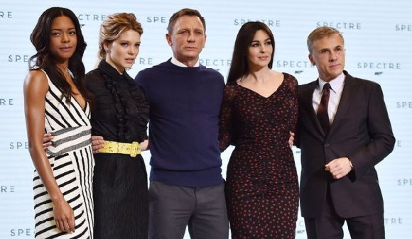 Daniel Craig with co-stars Naomie Harris, Lea Seydoux, Monica Bellucci and Christoph Waltz