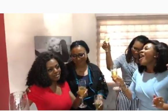 Serwaa, Charlotte Osei at the surprise birthday party