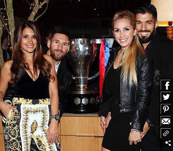 messi and suarez with their wives