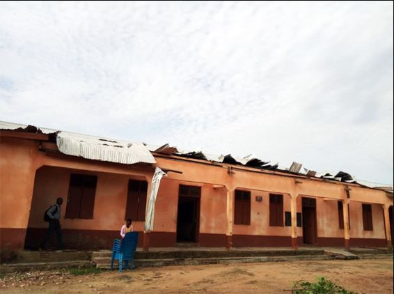 Damaged roofing sheets
