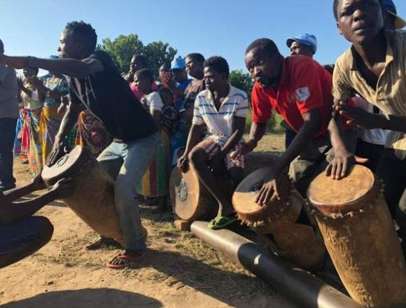 Drummers in Malawi creating a party atmosphere as the election approaches