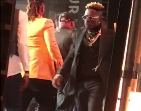 Shatta Wale captured on stage
