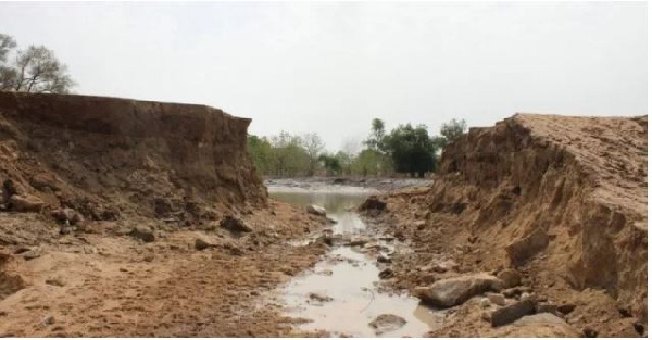One of the broken dams by govt