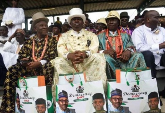 People dressed up for the Democracy Day celebration