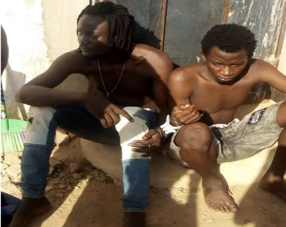 The suspects, Aboziah Dominic, 23, and David Apass, 21, in police custody