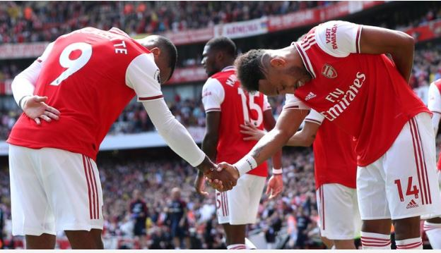 Arsenal goalscorers Alexandre Lacazette and Pierre-Emerick Aubameyang