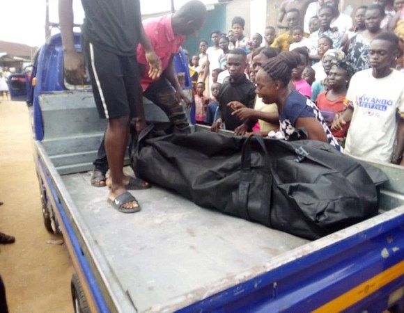 Corpse of student being conveyed to morgue