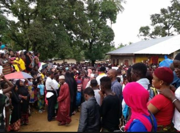 Crowds gathered at the school