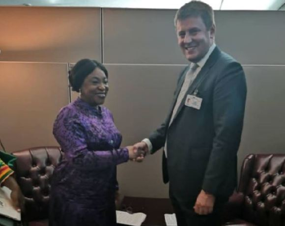 Foreign Minister, Shirley Ayorkor Botchwey in a handshake with Czech Republic's Tomas Patrick