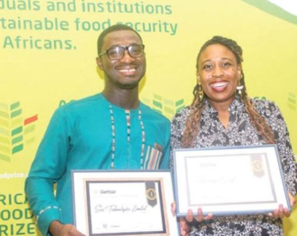 Mr Isaac Sessi (left), and Ms Bonolo Monthes, Botswana, winners of the GoGettaz Agripreneur Prize
