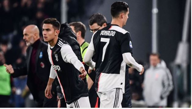Cristiano Ronaldo was replaced by Paulo Dybala in Juventus' win over AC Milan