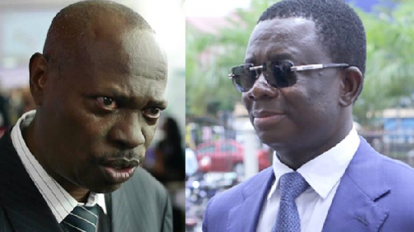 Dr. Adu-Ampomah (L) has been struggling in testifying against Dr. Opuni (R)pu