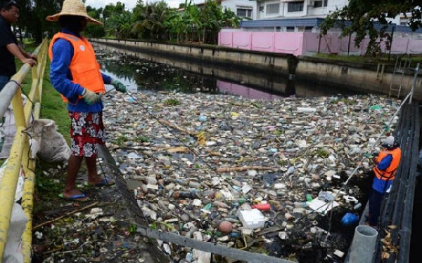 Waste in an open drain (file photo)