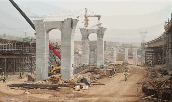 Ongoing works at the Pokuase Interchange