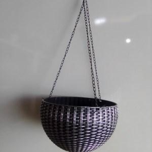 hanging basket planter silver and black