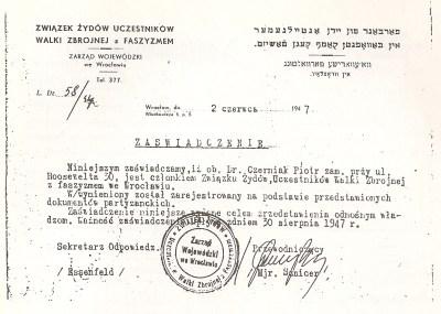 Certificado emitido a nombre de Pinhas Czerniak por la Unión de partisanos judíos contra el Fascismo, en Breslau el 2 de junio de 1947