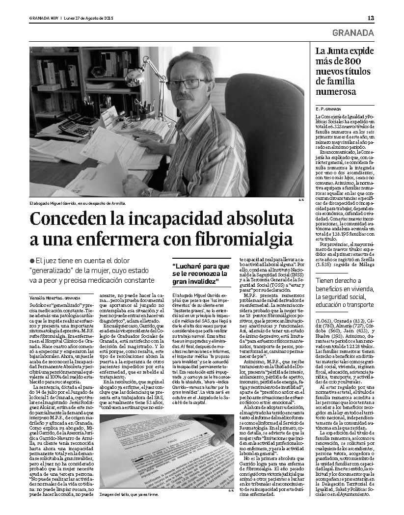 2015 - Sentencia Fibromialgia Enfermera SAS