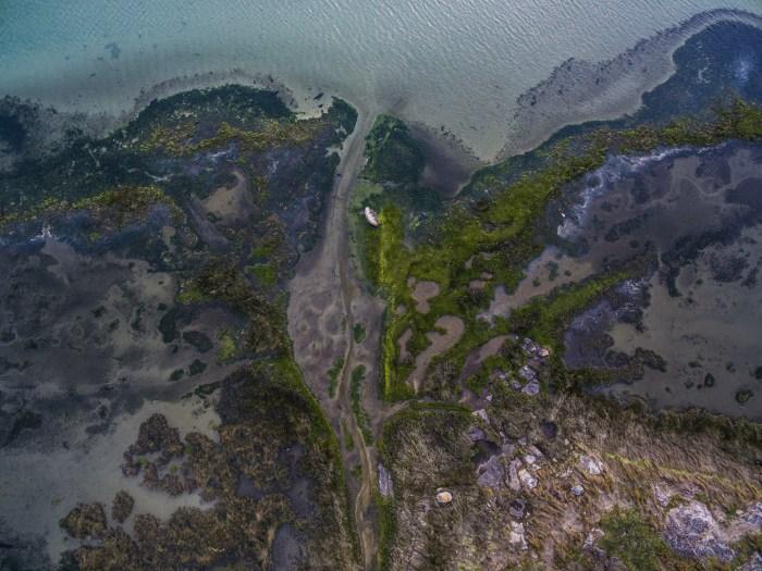 Foto aérea con dron praia de Carnota