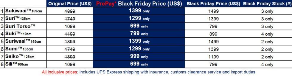 Black Friday Sex Doll Price